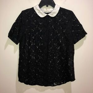 EQUIPMENT FEMME Size M Black Lace Short Sleeve too
